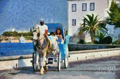 Horse Carriage In Spetses Island Poster