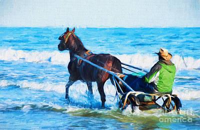 Horse Drawn Carriage In The Ocean Digital Art Poster by Vizual Studio