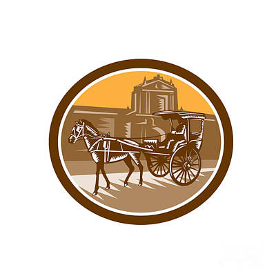 Horse-drawn Carriage Intramuros Woodcut Retro Poster