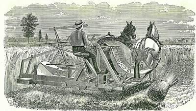 Horse-drawn Self-binding Reaping Machine Poster