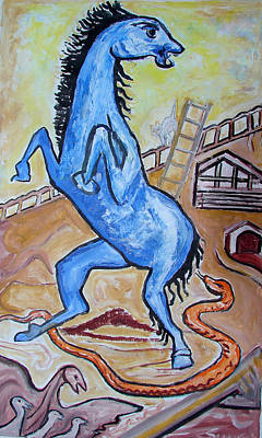 Poster featuring the painting Horse  Frightend By A Snake by Anand Swaroop Manchiraju