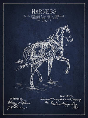 Horse Harness Patent From 1885 - Navy Blue Poster by Aged Pixel