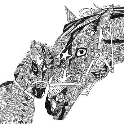 Horse Love Black White Poster