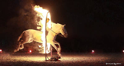 Poster featuring the photograph Horse On Fire by Stwayne Keubrick