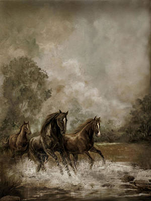 Horse Painting Escaping The Storm Poster