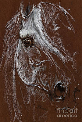 Horse Quick  Sketch Soft And Oil Pastel  Poster by Angel  Tarantella