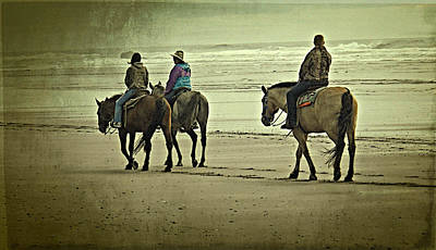 Poster featuring the photograph Horseback Riding On The Beach by Thom Zehrfeld