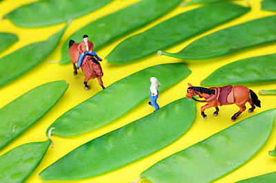 Horse Riding On Snow Peas Little People On Food Poster by Paul Ge