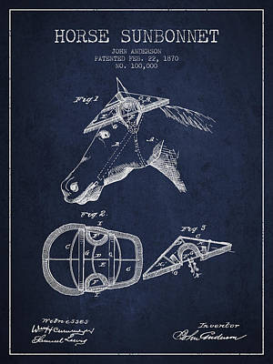 Horse Sunbonnet Patent From 1870 - Navy Blue Poster by Aged Pixel