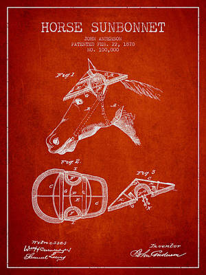 Horse Sunbonnet Patent From 1870 - Red Poster by Aged Pixel