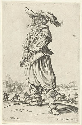 Horseman With Plumed Hat, Seen From The Front Poster by Jacques Callot And Print Maker: Anonymous And Frederik De Wit