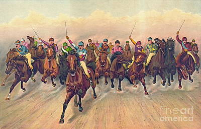 Horserace 1888 Poster by Padre Art
