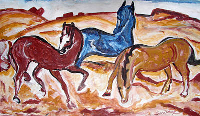Poster featuring the painting Horses 3 by Anand Swaroop Manchiraju