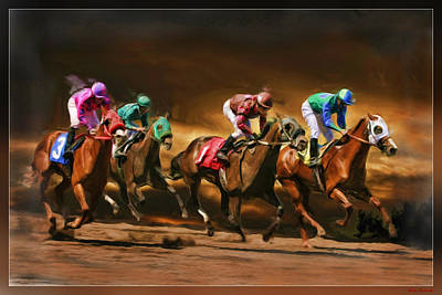 Horses 4 At Finish Poster