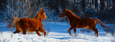 Horses At Play Poster by Tracy Winter