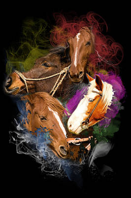 Poster featuring the digital art Horses Gone Wild by Davina Washington