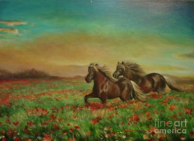 Poster featuring the painting Horses In The Field With Poppies by Sorin Apostolescu