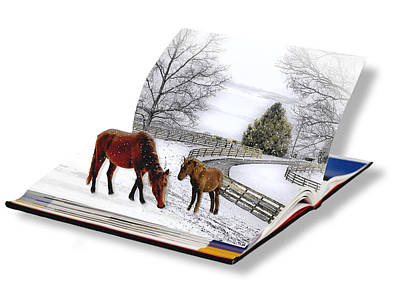 Horses In The Snow Poster by Trudy Wilkerson