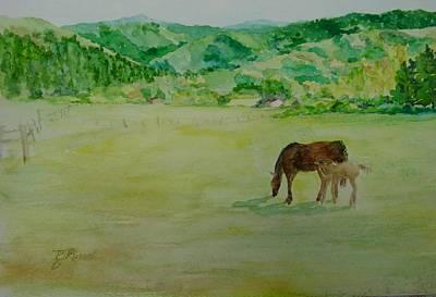 Horses Mare Foal Pastures Rural Landscape Original Art Oregon Western Artist K. Joann Russell Poster
