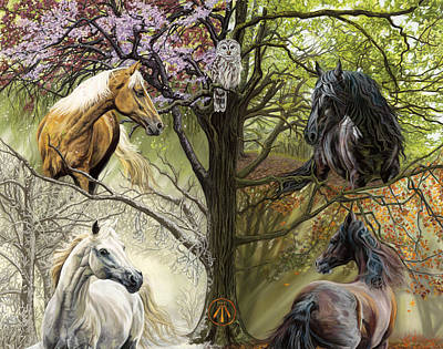 Horses Of The Four Seasons Poster by Kim McElroy