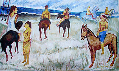 Poster featuring the painting Horses On Beach by Anand Swaroop Manchiraju