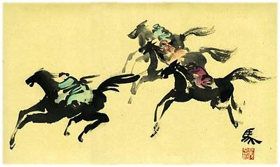 Poster featuring the painting Horse Racing by Ping Yan