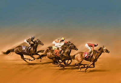 Horses Racing To The Finish Line Poster