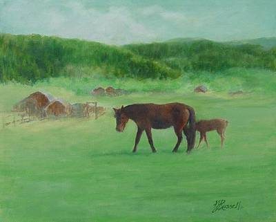 Horses Rural Pasture Western Landscape Original Oil Colorful Art Oregon Artist K. Joann Russell Poster