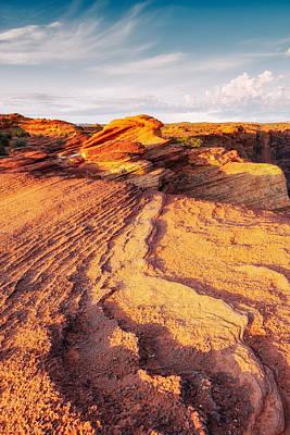 Horseshoe Bend Colorado River Glenn Canyon Sandstone Waves Bathed By Golden Light Poster by Silvio Ligutti