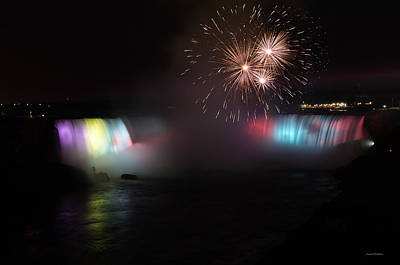 Horseshoe Falls With Fireworks Poster