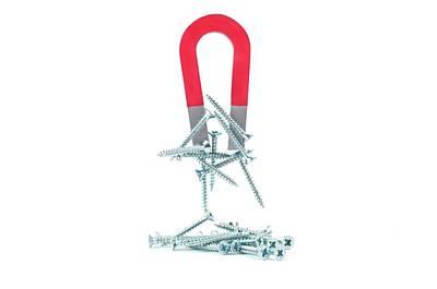 Horseshoe Magnet Attracting Metal Screws Poster by Dorling Kindersley/uig