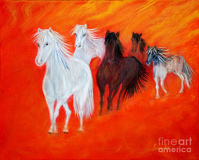 Poster featuring the painting Horses.soul Collection. by Oksana Semenchenko
