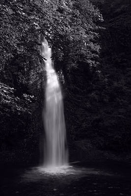 Horsetail Falls In Summer In Black And White Poster by Vishwanath Bhat
