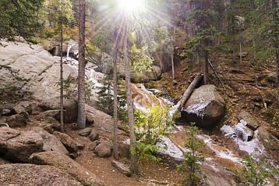 Horsethief Falls Sunburst - Cripple Creek Colorado Poster