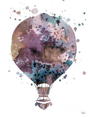 Hot Air Balloon 2 Poster by Watercolor Girl
