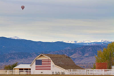 Hot Air Balloon Boulder Flag Barn And Eldora  Poster