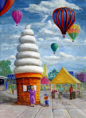 Hot Air Balloon Carnival And Giant Ice Cream Cone Poster by Lenora  De Lude