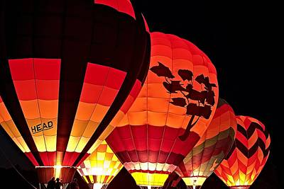 Hot Air Balloon Night Glow Poster by Jeff Sinon