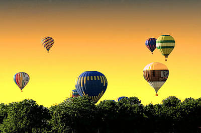 Hot Air Balloons At Sunset  Poster by Geraldine Scull