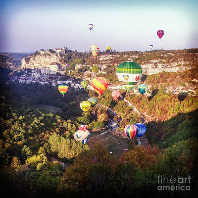 Hot Air Balloons Rocamadour Poster by Colin and Linda McKie
