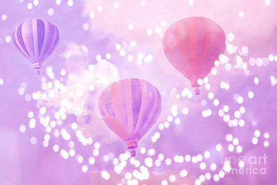 Surreal Dreamy Hot Air Balloons Lavender Purple Carnival Festival Art - Child Baby Girl Nursery Art Poster