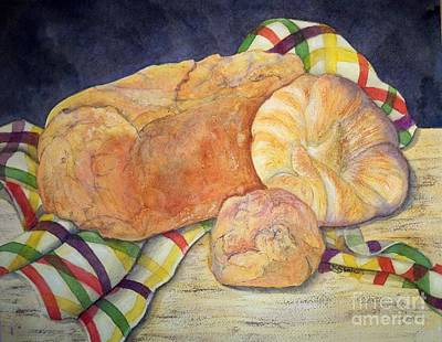 Hot And Crusty Breads Poster by Kathy Staicer