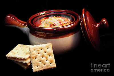 Hot Chili With Cheese And Crackers Poster by Andee Design