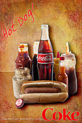 Poster featuring the photograph Hot Dog And Cold Coca-cola by James Sage