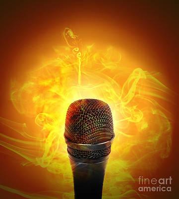 Hot Music Microphone Burning Poster by Angela Waye