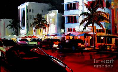 Hot Nights In South Beach - Oil Poster by Michael Swanson