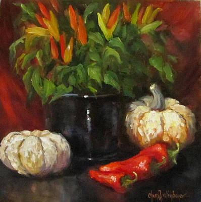 Poster featuring the painting Hot Peppers And Gourds by Cheri Wollenberg