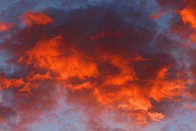 Hot Red Orange Sunset Poster by Linda Phelps