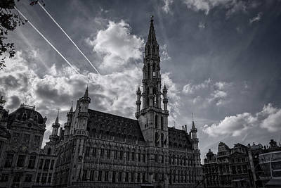 Hotel De Ville Brussels Poster by Joan Carroll