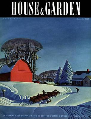 House And Garden Christmas Decoration Cover Poster by Dale Nichols